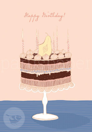 "Greeting Card ""Happy Birthday! - Birnentorte"""